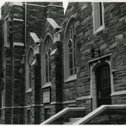 Church building, exterior photograph, c. 1975