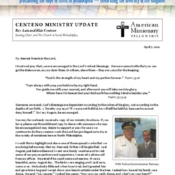 Centeno Ministry Update, April 2010
