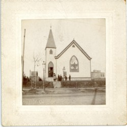 First church building, exterior photo, c. 1905